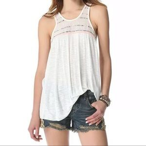 Free People Electric Light Sequin White Tank Top